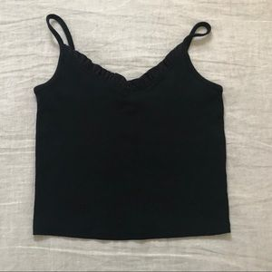Forever 21 Knit Tank With Ruffle